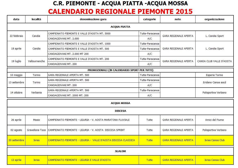 calendario piemonte 2015