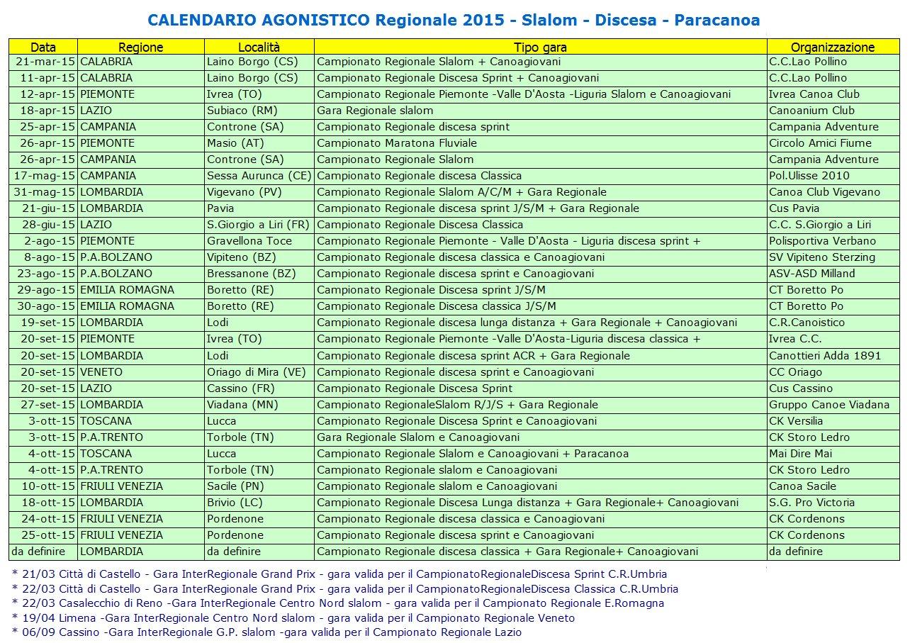 calendario regionale 2015